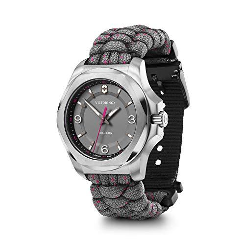 Victorinox I.N.O.X. V 241920 - Reloj de pulsera para mujer con esfera gris y correa de paracaídas color rosa