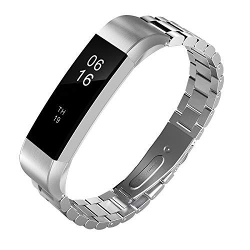TiMOVO Pulsera Compatible con Fitbit Alta/Alta HR, Pulsera del Metal del Acero Inoxidable, Reemplazable con Doble Botones Plegable con Herramienta - Plata