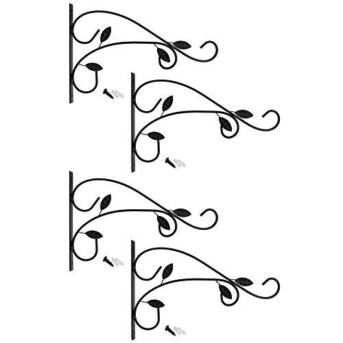 COM-FOUR® 4x muurbeugel van gepoedercoat staal, haak voor bloempot, tuin, windgong, hangende mand, met schroeven en pluggen (4 stuks - bladeren)