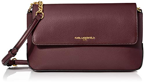 Karl Lagerfeld Paris Damen Flap Crossbody Iris Hermine, Umhängetasche mit Klappe, Merlot, Einheitsgröße