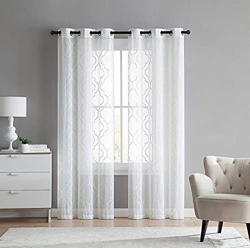 VCNY Home 2 Pack Charlotte Embroidered Quatrefoil Trellis Semi Sheer Curtain Panels - Assorted Colors & Sizes (96 in. Length, White)