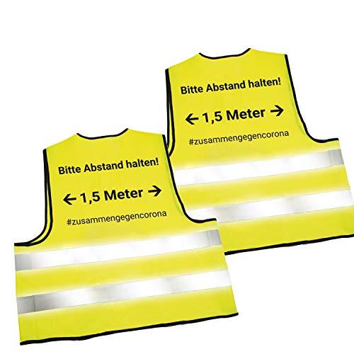 2X Warnwesten mit Abstandswarnung - Bitte Abstand halten 1,5m - und Reflektorstreifen nach EN ISO 20471 Zertifiziert Sicherheitsweste Gelb mit Klettverschluss Einheitsgröße XXL (2X Gelb)