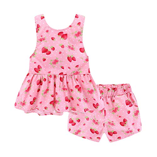 Mud Kingdom Strawberry Little Girl Outfits Summer Holiday Cute Backless Size 5