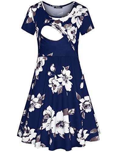 Quinee Swing Dress, Mother Short Sleeve Scoop Neck Daily Casual Summer Nursing Dresses for Women Breastfeeding Floral Printed Maternity Tunic Dresses for Pregnancy Blue XL