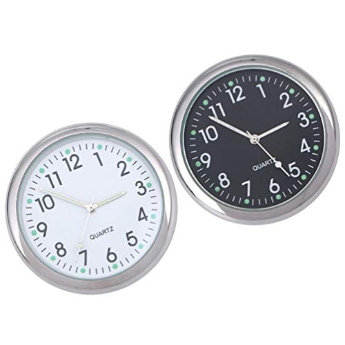 Wakauto Car Dashboard Clock, 2PCS Small Round Car Dashboard Clocks Noctilucent Stick-on Self Adhesive Luminous Pointer Clock Digital Clock for Automobile SUV Car