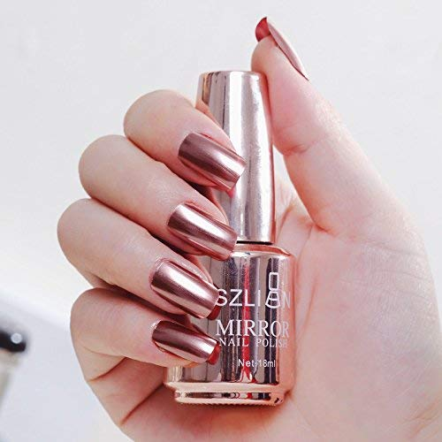 Eujiancai 12 Colors Metallic Nail Polish Magic Mirror Effect Chrome Nail Art Polish Varnish 18ml B