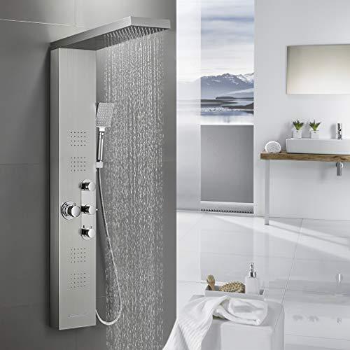 BONADE Thermostat Duschpaneel Edelstahl Duschgarnitur 5 Funktionen Duschsystem inkl. Regendusche, Wasserfalldusche Massagendüsen Handbrause und Wasserfallbrause, Duschsäulen Gebürstetes Silber