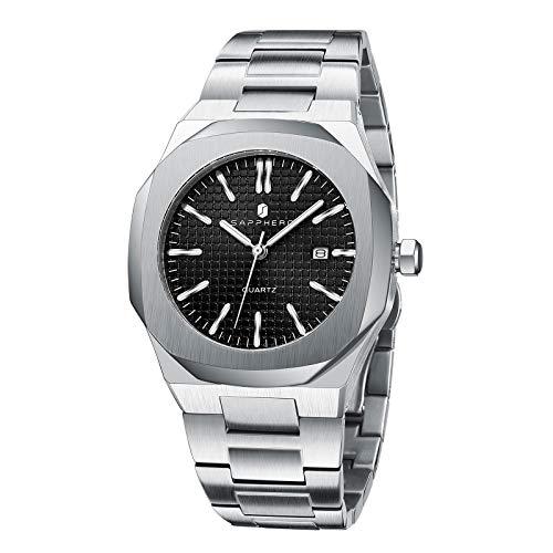 SAPPHERO Reloj de Hombre Movimiento de Cuarzo Resistente al Agua 3ATM Acero Inoxidable Moda Relojes de Pulsera para Hombre para Empresas