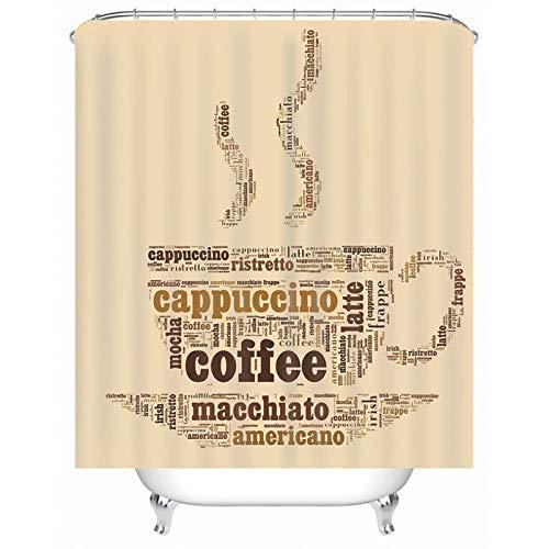 Cenliva Duschvorhang Lustiges Motiv, Duschvorhang Set Khaki Duschvorhang Cappuccino Coffee Polyester