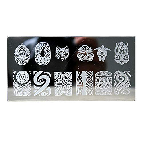 geshiglobal 1 Stück Nagelkunst-Schablonen aus Edelstahl mit Blumenmuster, Maniküre-Werkzeug Nr. 4