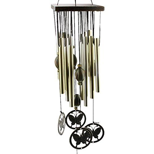Carillons à Vent de Papillon Suspendu Motif Anti-rouille Décoration Cadeau Art Manuel Cloche Placage Métal+Bois Bronzé 12 Tubes Ornement Salon Jardin Maison