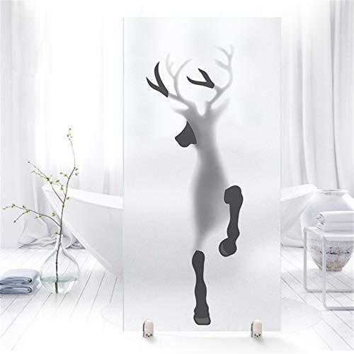 Fensterfolie Selbsthaftend Blickdicht Motiv, Statisch PVC Milchglas Dekofolie Mit 3D Kreativität Elch und Pferd Muster, Küche Bad Anti-UV Sichtschutzfolie Aufkleber,A,90x120cm