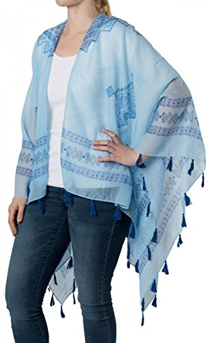 styleBREAKER Leichter Sommer Poncho mit Ethno Muster, Quasten, Strand, Boho Style, Damen 08010022, Farbe:Hellblau