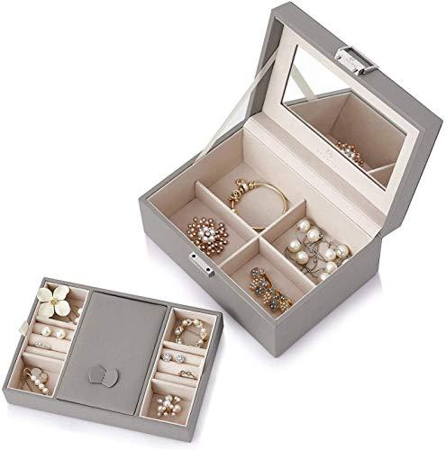 Recet Schmuckkästchen im Retro-Stil, abschließbar, aus Holz, groß, verspiegelt, mit Schlüssel, aus Mikrofaser-PU-Leder, tolles Geschenk für Frauen und Mädchen (Grau)