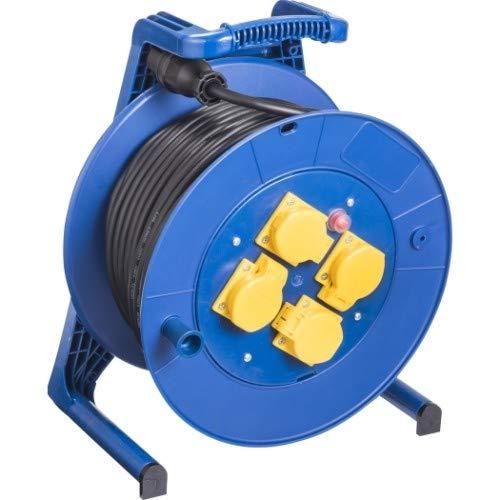 JUMBO® L Kabeltrommel mit 4 Steckdosen H07RN-F Querschnitt 3 x 1,5 mm², Leitungsfarbe schwarz, Länge 40 m, Farbe Trommel/Gestell blau