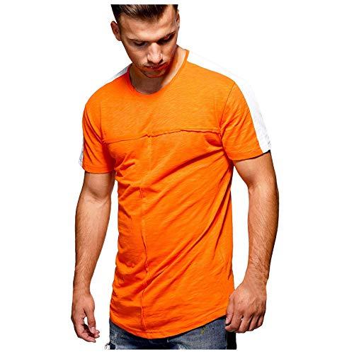 YANFANG Blusa Verano De Los Hombres Deportes Ocio Color A Juego Cuello Redondo Manga Corta,Camiseta Hombre Marca Corta,Camisetas Corta Deporte,Blusas Y Camisas,Naranja,3XL