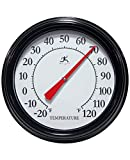 Infinity Instruments Executive Black 12 inch Wall Thermometer Outdoor Large | Analog Outdoor Wall Thermometer | Decorative Round Outdoor Thermometer | Perfect for Patio, Garage, Outdoor, Indoor