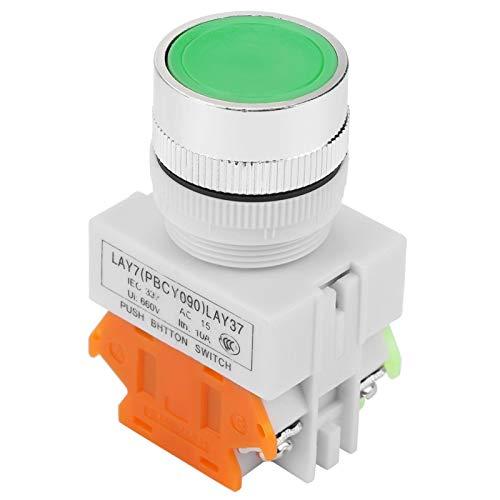 Interruptor de botón momentáneo, Interruptor de botón pulsador, Restablecimiento automático Botón pulsador verde de cabeza plana Interruptor momentáneo Montaje de 22 mm LAY37-11BN