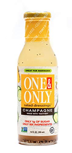 One&Only Champagne Salad Dressing, 12 fl.oz., Keto Salad Dressing and Marinade, Made with Only Six Organic and non-GMO Ingredients, Gluten Free, and Vegan