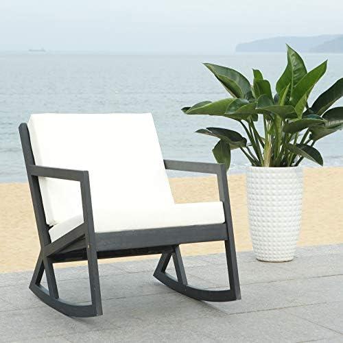 Best Safavieh PAT7013F Outdoor Collection Vernon White Rocking Chair, Black/Beige