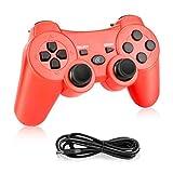 Powcan Bluetooth Senza Fili Controller di Gioco per PS3/PC Windows 7/8/ 9/10 Sostituzione per PS3 Controller, Doppia Vibrazione Gamepad (rosso1)