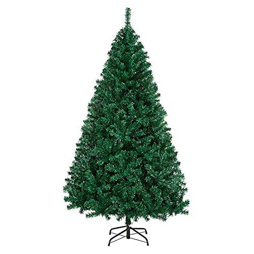 Yaheetech Albero di Natale Artificiale 180 cm 1000 Rami Folto in PVC Effetto Realistico Base in Metallo Pieghevole Portatile