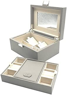 Vlando Wooden Jewelry Box Organizer w/Mirror & 2-Layer for Necklaces Rings Earrings Jewelries, Great Gift for Women Girls (Grey)