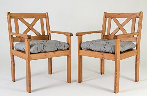 Ambientehome Garten Sessel Stuhl Massivholz inkl. Kissen EVJE, braun, 2-teiliges Set