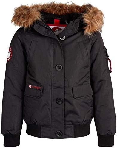 CANADA WEATHER GEAR Girls Outerwear Bomber Parka Jacket with Faux Fur Hood Black Size 10 12 product image