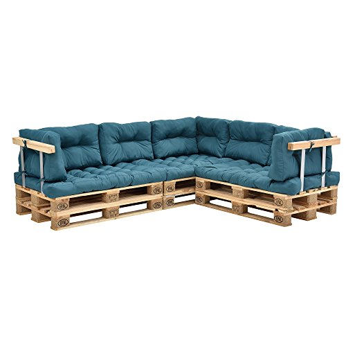 [en.casa] Euro Paletten-Sofa - DIY Möbel - Indoor Sofa mit Paletten-Kissen/Ideal für Wohnzimmer - Wintergarten (3 x Sitzauflage und 8 x Rückenkissen) Türkis
