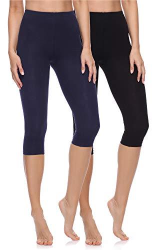 Merry Style Lote de 2 Leggins 3/4 Mallas Deportivas Mujer MS10-199 (Negro/Azul Marino, S)