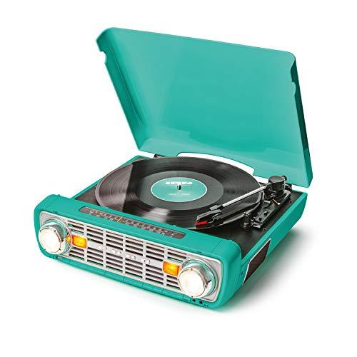 ION Audio Bronco LP-Vintage Plattenspieler / Plattenspieler mit Lautsprechern, AM/FM-Radio, USB- und AUX-Eingängen, klassisches Blaugrün
