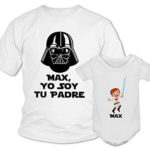 Regalo día del padre camiseta papá personalizada + Body o camiseta hijo/a Estilo Star Wars Jedi Darth Vader de la guerra de las galaxias