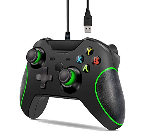 Mando con cable para Xbox One/X/S/Elite PC con doble vibración (negro)