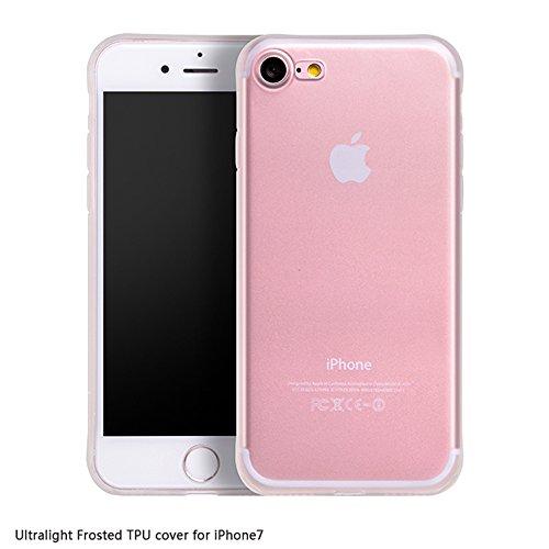 PUGO TOP iPhone 7 Custodia, Matte Cristallo Posteriore TPU [Goccia di Protezione/Assorbimento di Scossa Tecnologia] Calotta di Protezione per iPhone di Apple 7 2016 - Matte Trasparente
