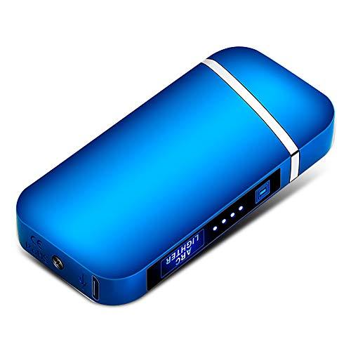Rengu 電子ライター プラズマ ライター USB充電式 電気 小型 軽量 防風 薄型 おしゃれ 高級感 ブルー