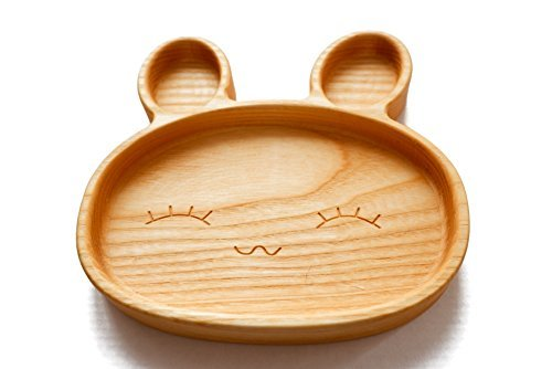 Product Image of the Kids Plates Suction Toddlers Plates for Baby Eco Friendly Ash Tree Wooden Dish...