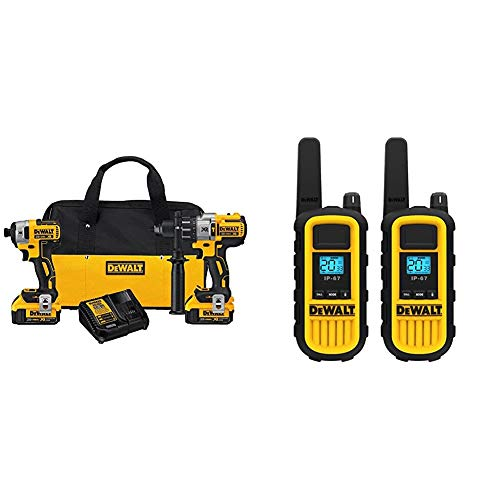 DEWALT 20V MAX XR Brushless Impact Driver and Hammer Drill Combo Kit, Premium 4.0Ah with 2 Watt Heavy Duty Walkie Talkies, 2 Pack (DCK299M2 & DXFRS800)