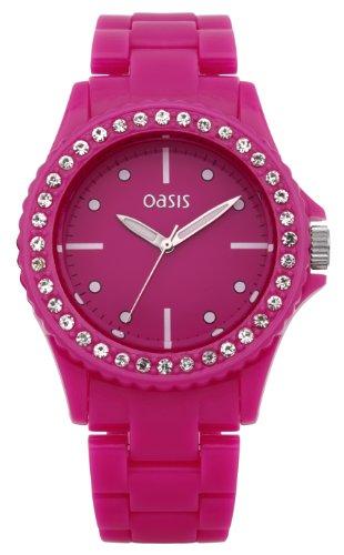Oasis Damen-Armbanduhr Analog Plastik rosa B1159