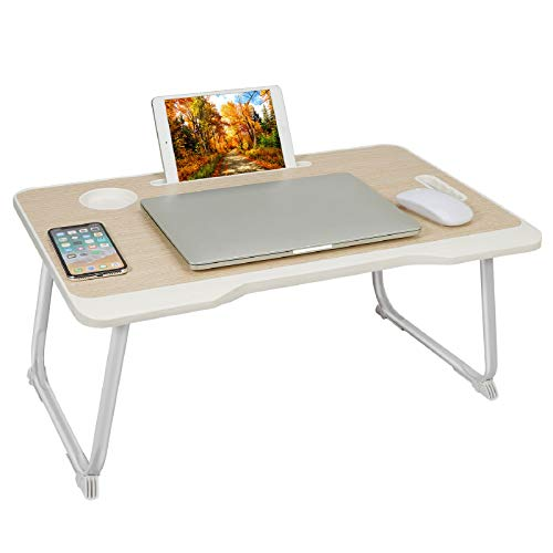 Laptop Desk, Portable Laptop Table with Handle, Foldable Lap Desk Stand, Laptop Bed Tray Table, Foldable Legs & Cup Slot for Eating Breakfast, Reading Book, Watching Movie on Bed, Sofa and Floor