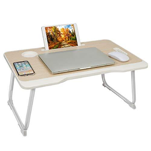 Tavolo pieghevole per computer portatile, per colazione, portata, tavolo per computer portatile con cassetto e scomparto per iPad e bevande, scrivania per letto, pavimento e divano