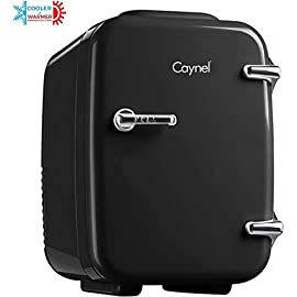 Caynel mini fridge cooler and warmer, (4liter / 6can) portable compact personal fridge, ac/dc thermoelectric system, 100… 1 compact & portable: caynel cooler/warmer mini fridge chills 6 12oz. Cans and is perfectly portable for personal use. It's small size, sleek design and convenient carry handle, makes it easy to take the mini fridge with you on the go! 100 pcs cute stickers help you customize your own fridge , make your personality shine! Cooling & warming: the thermoelectric system in the caynel mini fridge allows for easy switching from beverage cooler to food warmer! Easily choose to chill up to 45ºf or warm up to 140ºf - with the flip of a switch. Well insulated interior holds temperature even after unplugged. Go green! : the unique semiconductor operation is energy-efficient, ultra-quiet and 100% environmentally friendly. 100% freon-free and etl approved with advanced safety technology for long lasting durability. Includes plugs for both 110v (ac) standard home outlets and 12v car chargers. Use at home or on the road!
