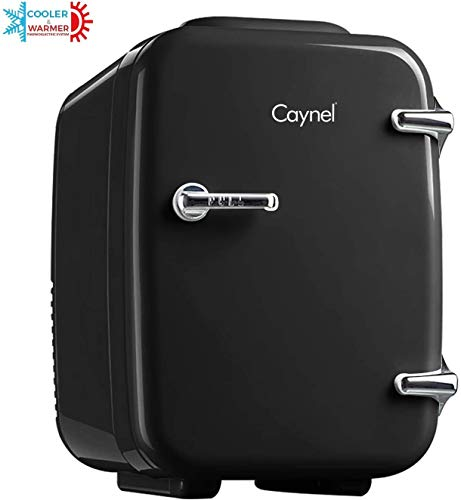 CAYNEL Mini Fridge Cooler and Warmer, (4Liter / 6Can) Portable Compact Personal Fridge, AC/DC Thermoelectric System, 100… 1 COMPACT & PORTABLE: Caynel cooler/warmer mini fridge chills 6 12oz. cans and is perfectly portable for personal use. It's small size, sleek design and convenient carry handle, makes it easy to take the mini fridge with you on the go! 100 PCs cute stickers help you customize your own fridge , make your personality shine! COOLING & WARMING: the Thermoelectric System in the Caynel mini fridge allows for easy switching from beverage cooler to food warmer! Easily choose to chill up to 45ºF or warm up to 140ºF - with the flip of a switch. Well insulated interior holds temperature even after unplugged. GO GREEN!: the unique semiconductor operation is energy-efficient, ultra-quiet and 100% environmentally friendly. 100% Freon-Free and ETL approved with advanced safety technology for long lasting durability. Includes plugs for both 110V (AC) standard home outlets and 12V car chargers. Use at home or on the road!