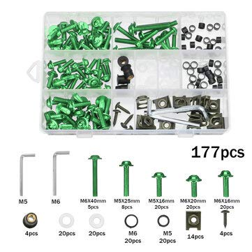 Viviance 177 Piezas de Kit de Pernos de carenado de Motocicleta Tuercas Tornillos Clips Compatible con Honda/Yamaha/Kawasaki/Suzuki - Verde