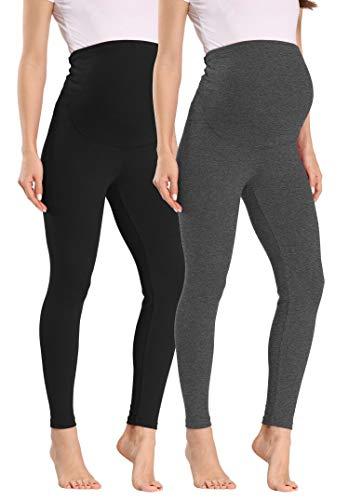 Vocni Women's Comfortable Maternity Cotton Leggings Full, Black-grey, Size Large