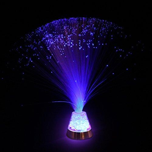 LEDMOMO Lámpara de fibra óptica Lámpara de fibra LED con batería y base de cristal que cambia de color