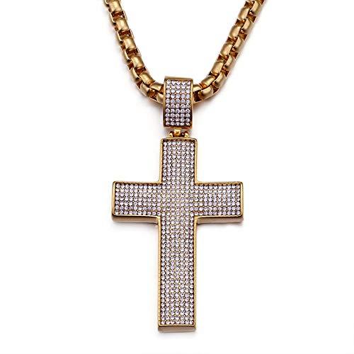 AnazoZ Collar de Hombre Colgante Hombre Gotico Collar de Hombre Acero Inoxidable Cruz Circonita Blanca Oro