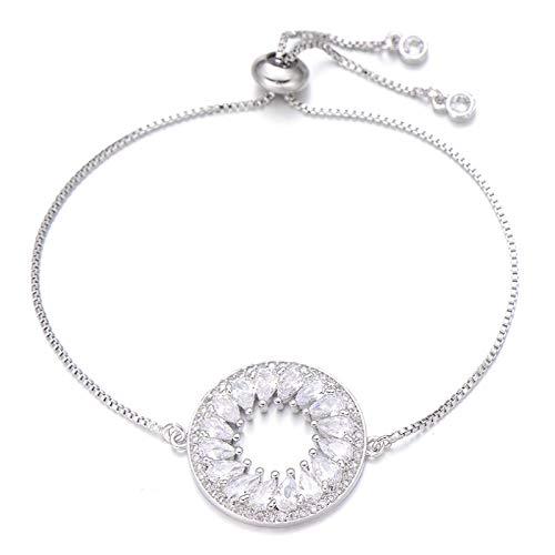 Jewellery Bracelets Bangle For Womens Shiny Clear Cubic Zirconia Large Round Charm Bracelet For Women Adjustable Chain Bracelets & Bangles Wedding Jewelry Silver