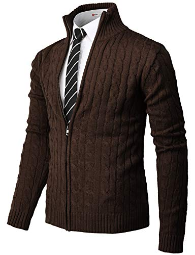 H2H Mens Casual Slim Fit Knitted Cardigan Zip-up Long Sleeve Thermal with Twisted Pattern Brown US XL/Asia 2XL (CMOCAL034)
