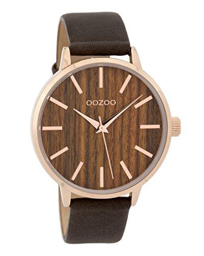 Oozoo Damenuhr mit Lederband Wood Holz Zifferblatt 42 MM Rose/Holz/Dunkelbraun C9253